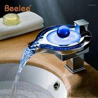 LED 욕실 수도꼭지 황동 크롬 폭포 욕실 분지 수도꼭지 3colors 변경 LED 수돗물 분지 믹서 Faucet1