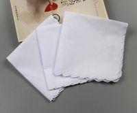 120pcsCotton Mouchoir serviettes Cutter bricolage pétoncle blanc Parti Mouchoir Décoration Tissu Artisanat Vintage Hanky Napkins Oman Cadeaux de mariage