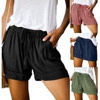Tamaño más mujeres de los cortocircuitos ocasionales sólidas Multi-bolsillo ocasional Mujer Pantalones cortos con cordón los pantalones cortos de las mujeres spodenki Pantalones cortos para mujeres