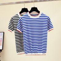T-shirt Femme Femmes Chemise de pull tricoté Tops Nordic Normcore Classic Douce Sailor Bleu Blanche Blanc Stripe Navy Sleeve Sleeve Pullover1