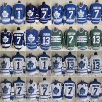빈티지 토론토 메이플 leafs # 1 조니 바어 하키 유니폼 13 매트 Sundin 7 Tim Horton Lanny McDonald 홈 블루 망 클래식 스티치