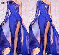Diseñado Zuhair Murad 2021 Vestidos de noche Un hombro Manga Larga Royal Azul High Side Slit Pageant Party Books Formal Prom Use BO9766
