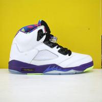 Mens Jumpman 5 Sneakers Retro Alternativo Bel Air 3335 100 Colorway Branco Corte Roxo Racer Rosa Goste Green