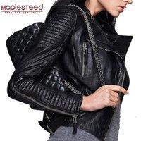 MAPLESTEED из натуральной кожи Куртка Женская кожаная куртка овчины Black Soft Slim Fit Punk Bomber женщина пальто осень 049