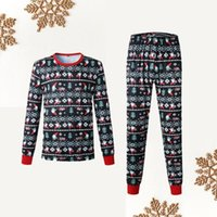 부모 - 자식 의류 따뜻한 크리스마스 인쇄 된 홈 파티 가족의 날 착용 잠옷 두 조각 아빠 세트 고품질 면화 블렌드 1