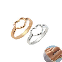بسيط جوفاء القلب الدائري 925 الفضة الإناث الدائري لفتاة عادي اليومية اليومية مجوهرات هدية للأصدقاء الساخن بيع دروبشيبينغ