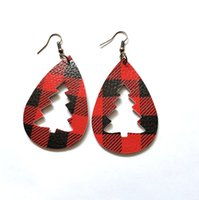 Christmas Tree Earring Teardrop Leather Earrings Water Drop ...