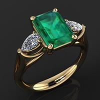 Anello di smeraldo verde 14k oro per le donne Bague Diamant Bizuteria Anillos de Pure Emerald Gemstone Gemstone Anello in oro 14K per femmine 201006