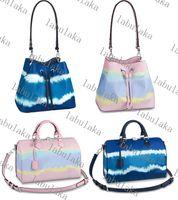 M45126M45124 حقائب حقائب الكتف حقائب جلدية دلو حقيبة النساء زهرة الطباعة حقيبة crossbody محفظة 3 لون مع وشاح