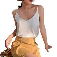 Camisoles Tanques 2021 Strap Top Mulheres Halter V Pescoço Básico Branco Cami sem mangas Sidin Silk Church Tops Camisole de Verão das Mulheres Plus Size