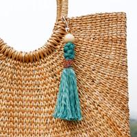 Bolsa de llavero de la borla de la teja de moda cuelga hechos a mano con perlas de nudo tasel llavero joyería de moda Will y regalo de arena