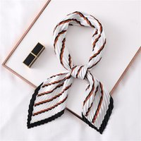 Fashion Silk Square Crinkle Scarf For Women Pleated Neck Sca...