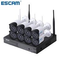 كاميرا لاسلكية أطقم escam WNK804 8CH 720P NVR كيت في الهواء الطلق للرؤية الليلية IP WIFI مراقبة نظام أمن الوطن
