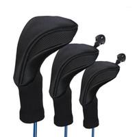 Cabezas de club 3 unids Cubiertas de cabeza de golf negra Driver 1 3 5 Fairway Cubierta de cabeza de madera Cuello largo Punto de protección Accesorios de protección11