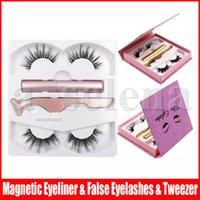 2 Çiftler 3D Manyetik Yanlış Eyelashes Eyeliner Seti Manyetik Eyeliner + Cımbız + Manyetik Sahte Kirpikleri 8 Stiller