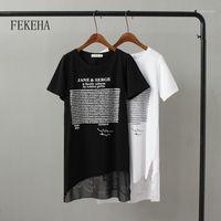 T-shirt Femme Fekeha Summer T-shirt Long T-shirt Femmes Lettre Noir Blanc Sexy Sexy Manches courtes Mince Coton Tops T-shirts Tshirt femelle
