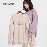 Moinwater Yeni Kadın Streetwear Hoodies Kadın Bırakma Omuz Kapşonlu Tişörtü Lady Rahat Boy Giyim Tops MH2007 201203