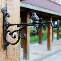 2 unids de hierro fundido soporte de pájaro montaje en pared percha de gancho para jardín planta olla flor cesta pote pájaro linterna colgando decoración antigua1