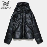 Женская кожаная из искусственной аарривля 2021 зимняя куртка черные капюшоны с капюшоном PU короткие длины молнии на молнии