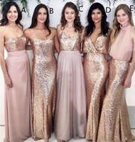 Vestidos de dama de honor desajustada Boda de playa con lentejuelas de oro rosa de lentejuelas Falda de gasa de boda Maid of Honor Vestidos Mujeres Fiesta Formal Desgaste