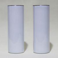 20oz sublimação tumblers magros retos em branco branco slim slim copos de aço inoxidável 20 oz vácuo isolado canecas de paredes duplas e palha plástica