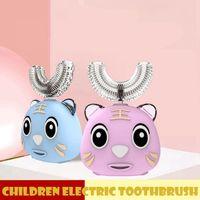 360 درجة كيد فرشاة الأسنان الكهربائية ش شكل التلقائي USB شحن الطفل الأسنان الكرتون لطيف الفم فرشاة تنظيف العناية بالفم