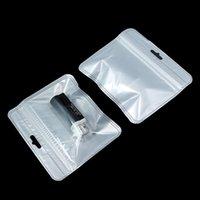 100pcs / lot Blocco in plastica Bianco Bianco Blocco Blocco in plastica con foro di appendere Poly sacchetti richiudibili per accessori elettronici