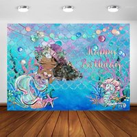 Materiał tła pod morzem Little Mermaid Backdrop Shell Trawa Wagi Ocean Pography Tło Baby Girl Birthday Party Decoration1
