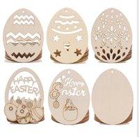 Ostern Kreativität von Holzhandwerk Anhänger Egg Hang DIY Handwerk Dekoration Holzartware Festival Partei liefert Haushalt Ornament WMQ250