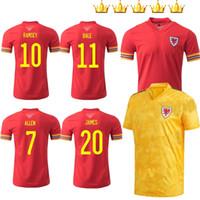 2021 Pays de Galles Soccer Jersey 20 21 2020-21 Bale Allen James Ben Davies Wilson Camisetas Accueil Rouge Jaune Maillot Maillot Jerseys Kits Shirts de football