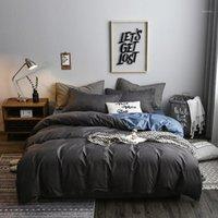 جديد رمادي منقوشة مجموعة الفراش القطن الصلبة اللون بريفين الحديثة السرير الملكة الملك الحجم 4 قطع حاف غطاء ورقة مجموعة 1