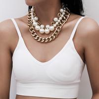 Collar de perlas de las mujeres Fashio Barroco imitación de la cadena de perlas Collar de la cadena de las mujeres para las mujeres collares collar collar tallado moneda colgante joyería