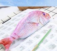 물고기 모양 연필 가방 크리 에이 티브 폴리 에스터 섬유 대용량 펜 가방 학생 편지지 연필 가방 키즈 선물 학교 용품 YYB3888