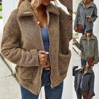 Automne Hiver en fausse fourrure Manteaux femmes Veste polaire douce et chaude Vestes solides Zipper Fluffy-vêtement Femme Casual femmes Pardessus