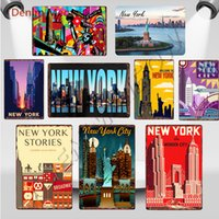 2021 Funny New York Metal Tin Signes USA Vintage The Wonder City Mur Art Posters Posters Pays-Flag Bar Pub Retro Statue de la Liberté Décor