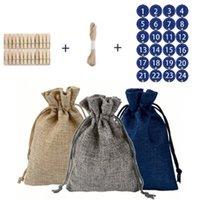 DIY 3 Color Cadeau Sac de cadeau Kit 1 Bobine Rope 24 Sacs Clips Suit Candy Emballage Lin Toile de lin Pouchon de cordon de cordon de cordon Vente chaude 16 5ll G2