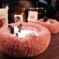Длинные плюшевые супер мягкие питомника круглая собака дом кошка для собак кровать чихуахуа большой большой коврик скамейка домашних животных LJ201028