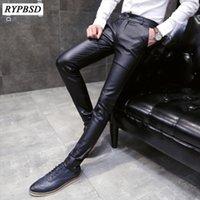2021 Nouveau automne Hommes Pantalons en cuir Faux Cuir Pantalons Hommes Fashion Casual Pantalon noir Homme Slim Fit Fit Zipper1
