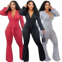 Damen Jumpsuits Strampler Sexy V-Ausschnitt Flecken Overall Frauen Langarm Bodysuit Bodycon Stretch Body Streetwear Romper Sash Overalls für