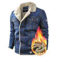 Мужские куртки Вольгины бренда Джинсовая мужская куртка осень зимние джинсы мужчины густые теплые бомбардировщики армии