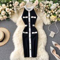 Neploe Retro Dress 2021 New Women Fashion Sexy Halter Buckle Slimming Vestidos Knitted Summer Stretch Waist Bodycon Dresses Q1229