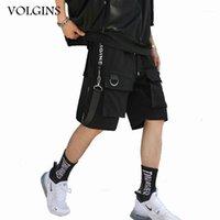 الرجال السراويل الشارع الشهير الرجال الهيب هوب ركض قصيرة المتناثرة أشرطة البضائع جيوب الصيف الأسود tatical baggy short1