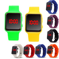 Relógio LED Eletrônico Infantil Watch Watch Luxo Unisex LED luz relógio homens mulheres relógios de relógios de quartzo de slicone 12color e121406