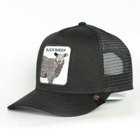 Bonés de beisebol personalizzato 5 pannello blu cotone nero pecore animale logo patch maglia camionista cappello cappello