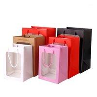 Hediye Paketi 6 adet Çiçek Çanta Şeffaf Buket Çanta Kutusu Düğün Doğum Günü Festivali Şeker Kağıt Ambalaj Boite Dragees Mariage1