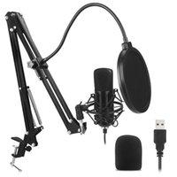 Microphones Studio Condenser Computer Microphone Комплект с длинным металлическим рукавом фильтра монтажный кронштейн USB MIC для прямой трансляции NetMeeting