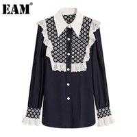 Frauen Blusen Hemden [Eam] Frauen dunkelblau Rüschen Große Größe Bluse Stehkragen Langarm Lose Fit Hemd Mode Frühling Sommer 2021 1