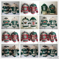 Minnesota Wild Hockey Sudaderas con capucha Jerseys 11 Zach Parise 20 Ryan Suter 40 Devan Dubnyk 64 Mikael Granlund Hoodies Green Rojo Blanco Beige