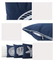Mediterraneo stile tela federa serie marina di copertura cuscino ricamato conchiglie di stelle marine modello pillow case giallo yyf4265
