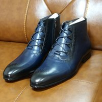 2020 أزياء الخريف جلد طبيعي رجالي الكاحل اليدوية ربط الحذاء حتى الرمز البريدي أحذية أنيقة أكسفورد جودة عالية اللباس أحذية للرجال